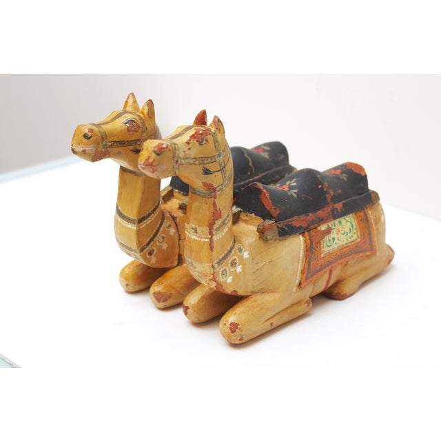 Image of Hand-Carved Wooden Camels - A Pair