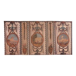 A Set of Five Large Hand-Painted Trompe l'Oeil Wall Panels