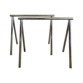 Chrome Saw Horse Table Bases - A Pair