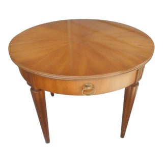 Vintage Henredon Round Inlaid Mahogany Side Table
