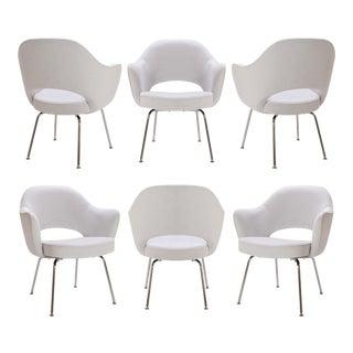 Customizable Saarinen Executive Armchairs in Dove Ultrasuede, Set of Six