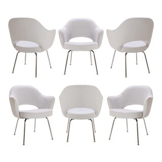 Saarinen Executive Armchairs in Dove Ultrasuede, Set of Six