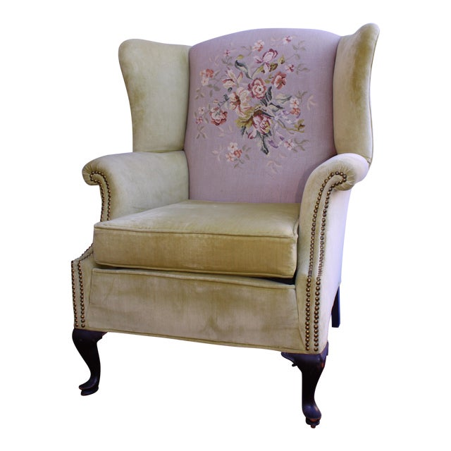 Huge Antique Velvet & Needlepoint Wingback Armchair - Image 1 of 11