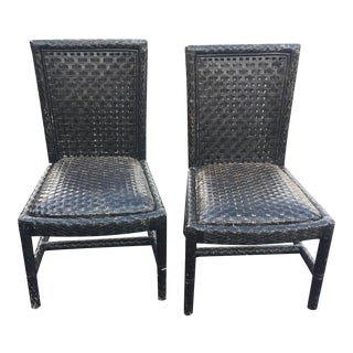 Vintage Oggetti Woven Leather Chairs - A Pair
