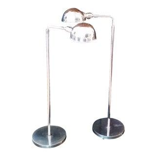 Vintage Adjustable Chrome Floor Lamps - Pair