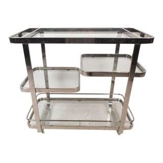 Vintage Modern Milo Baughman Style Chrome and Glass Bar Cart