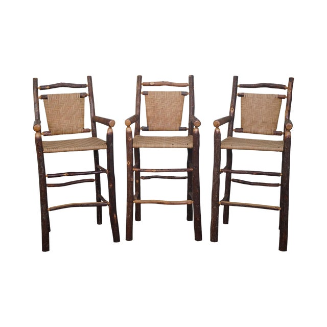 Old Hickory Rustic Barstools - Set of 3 - Image 1 of 10