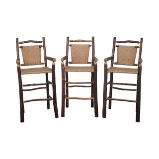 Old Hickory Rustic Barstools - Set of 3