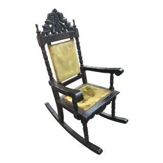 Antique Ornate Carved Wood Velvet Rocking Chair