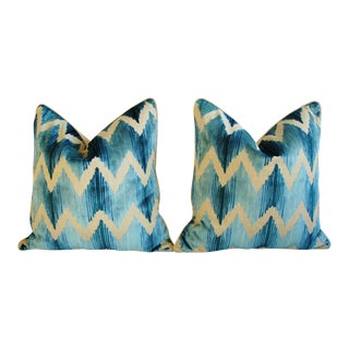 "24"" Lee Jofa Chevron Flamestitch Cut Aqua Velvet Feather/Down Pillows - Pair"