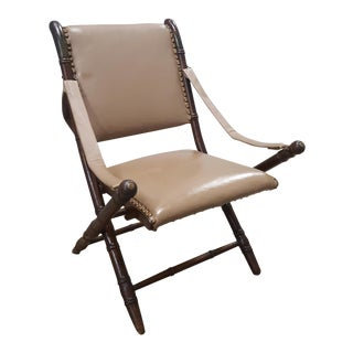 Campaign Faux Bamboo & Tan Leather Folding Chair