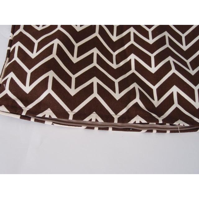 Image of Schumacher Chevron Brown & White Pillows - A Pair