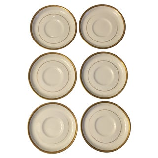 Ivory Ceramic Gold Rimmed Coasters - Set of 6