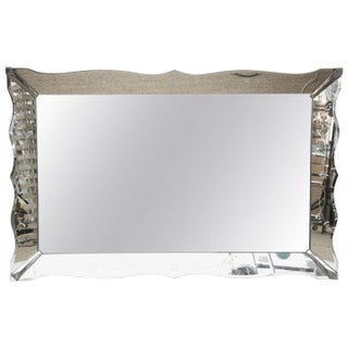 1940s Venetian Style Wall Mirror with Chrome Corners