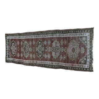 "Antique Turkish Oushak Runner - 3'8"" x 10'"
