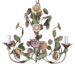 1950s Italian Tole Flowers Chandelier