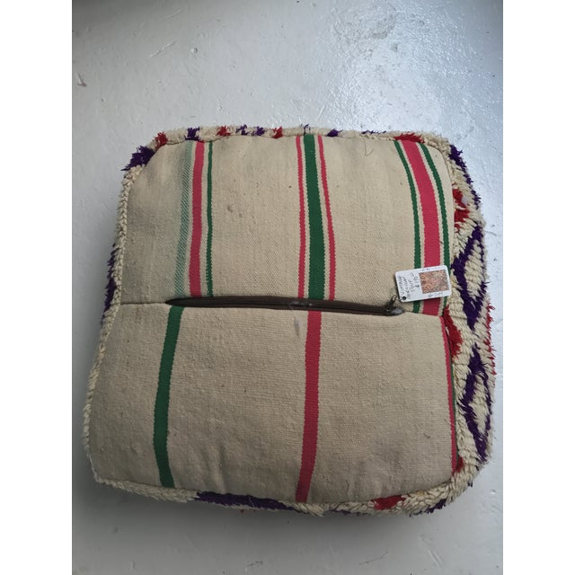 Vintage Moroccan Wool Stuffed Pouf - Image 5 of 7