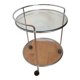 Vintage Glass & Metal Rolling Side Table/Mini-Bar Cart