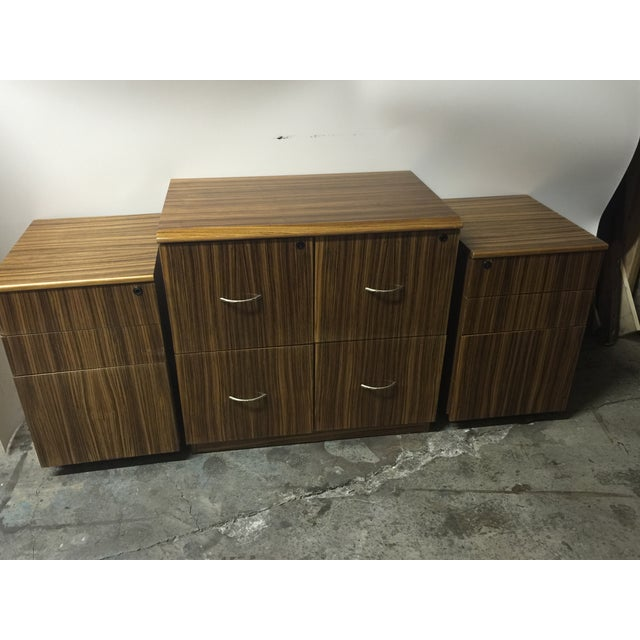 Mid-Century Wood Filing Cabinet - Set of 3 - Image 2 of 8