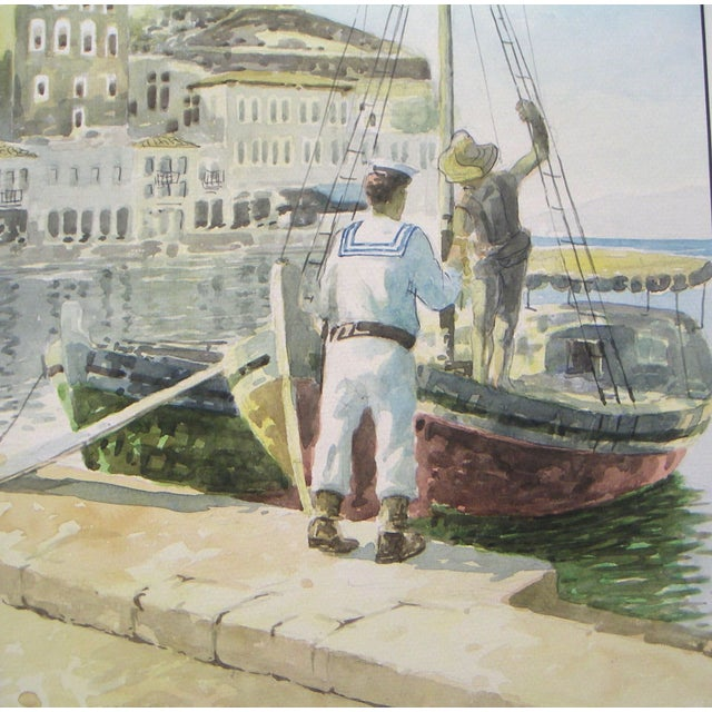 Signed Painting - Island Harbor Greece - Image 3 of 4