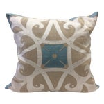 Image of Heathrow Embroidered Linen Pillow Cover