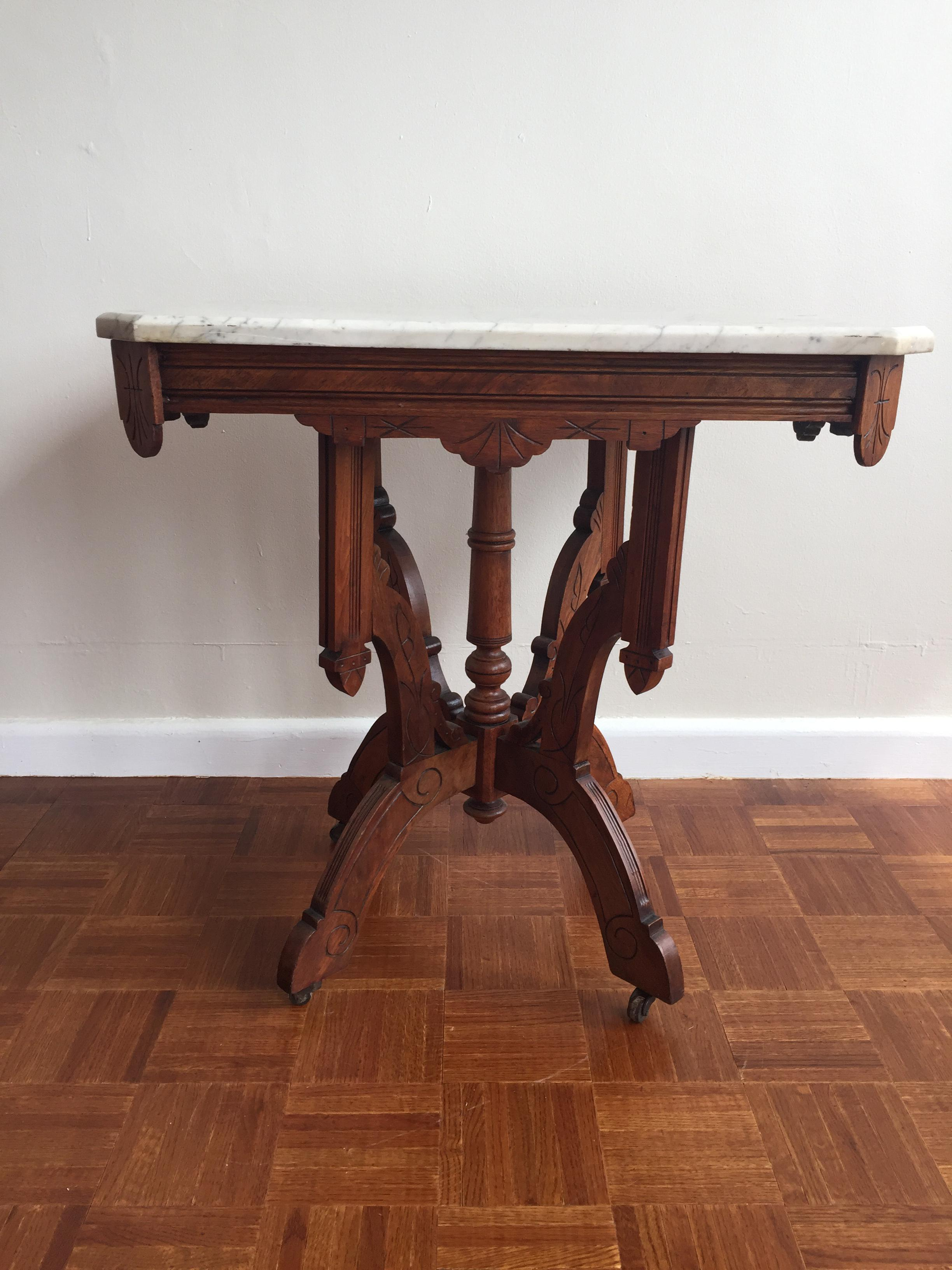 Victorian Square Marble Top Side Table   Image 2 Of 9