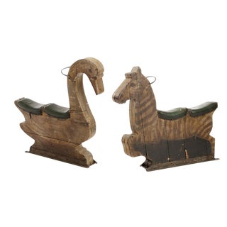 1930s Wooden Carousel Double Seats - Goose and Zebra.