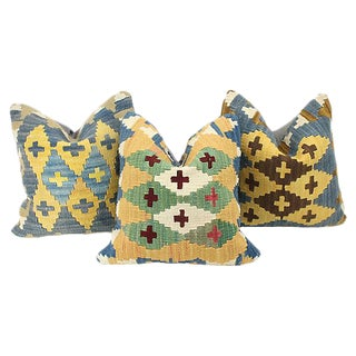 Geometric Turkish Kilim Throw Pillows - Set of 3