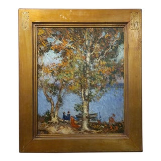 """Circa 1900s Ronald Hargrave """"Women at the Lake"""" Oil Painting"""