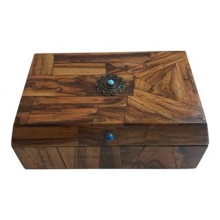 Vintage Inlay Wood Jewelry Box
