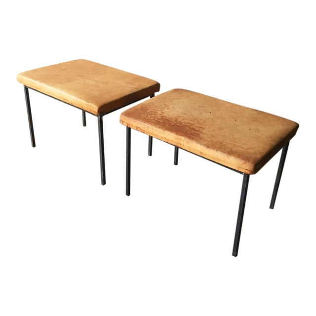 Vintage Leather Benches - A Pair - Image 1 of 5