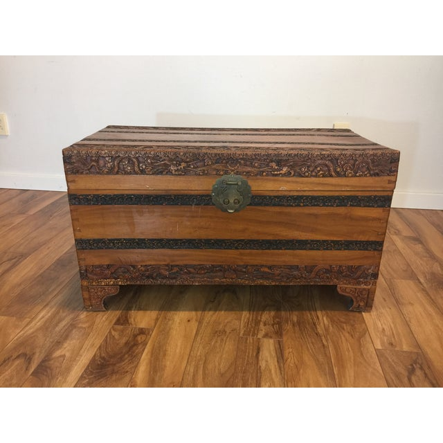 Image of Vintage Camphor Lined Carved Asian Blanket Trunk