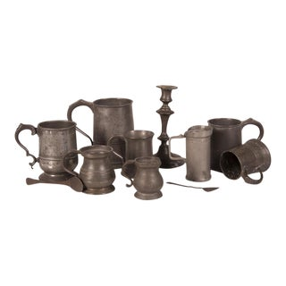 Set of Eleven English Pewter Pieces with Maker Stamps circa 1850