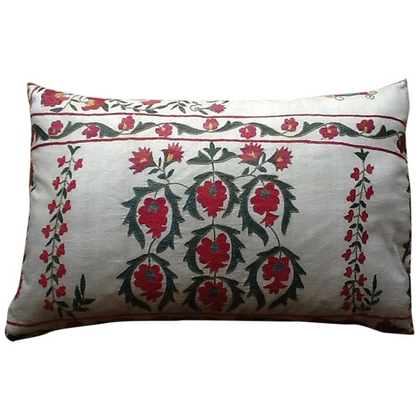 Large Silk Embroidered Pillow - Image 1 of 9