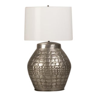 Crocodile Pattern Metal Table Lamp Found in France