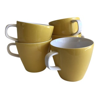 Mid-Century Yellow & White Mugs - Set of Five