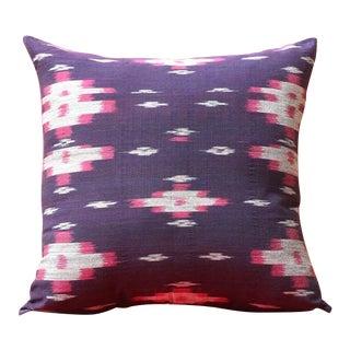 Boho Chic Purple Handwoven Ikat Pillow