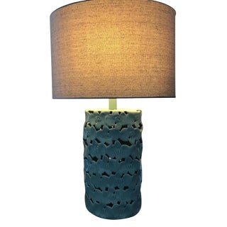 Ceramic Teal Floral Table Lamp