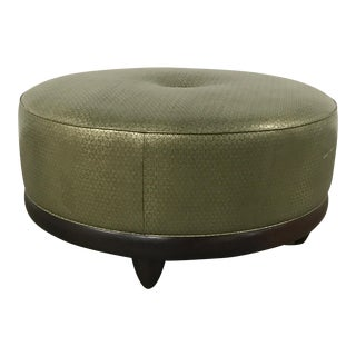 Transitional Interior Crafts Round Gold Ottoman
