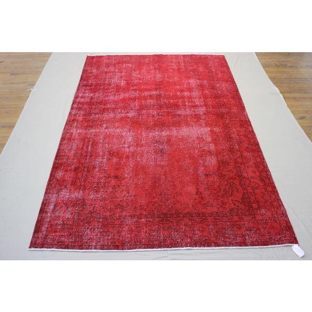 "Image of Vintage Turkish Red Overdyed Rug - 7'2"" X 11'"
