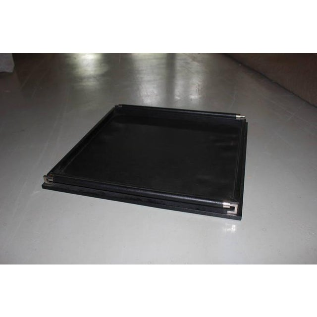 Image of Oversize Ebony Leather Tray