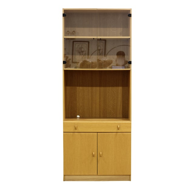 Image of Tan Woodgrain Cabinet with Glass Doors