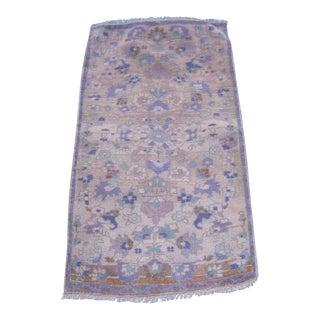 "Turkish Gray Wool Pile Small Vintage Rug - 1'7"" x 3'1"""
