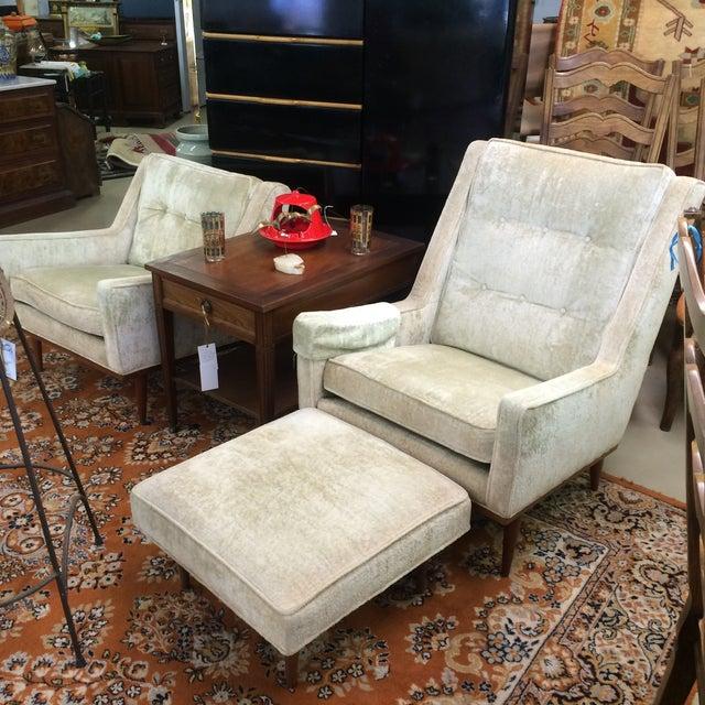 Milo Baughman Club Chairs & Ottoman - A Pair - Image 7 of 8