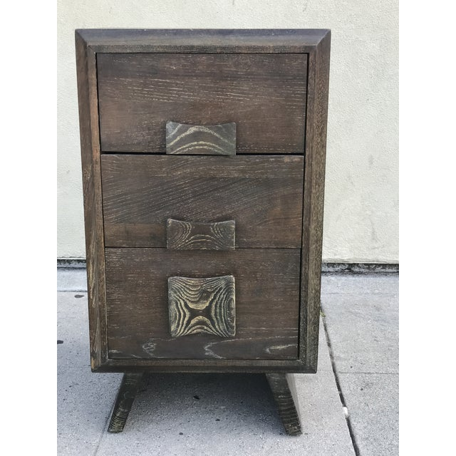 Paul Frankl Style Cerused Brown 3 Drawer Nightstand - Image 2 of 9