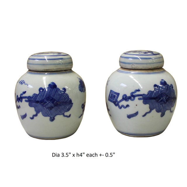 Pair Blue White Small Oriental Graphic Porcelain Ginger Jars - Image 6 of 6