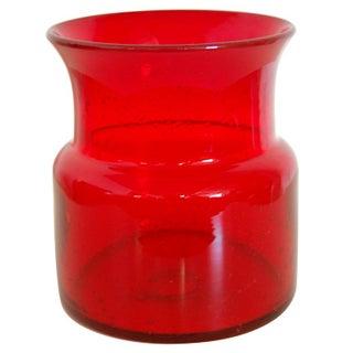 Erik Hoglund Vintage Swedish Red Art Glass Vase