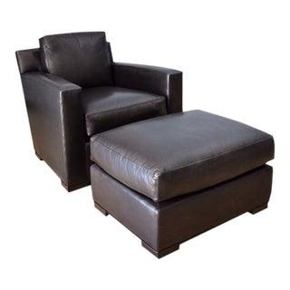 Coach Flatiron Black Leather Club Chair and Ottoman