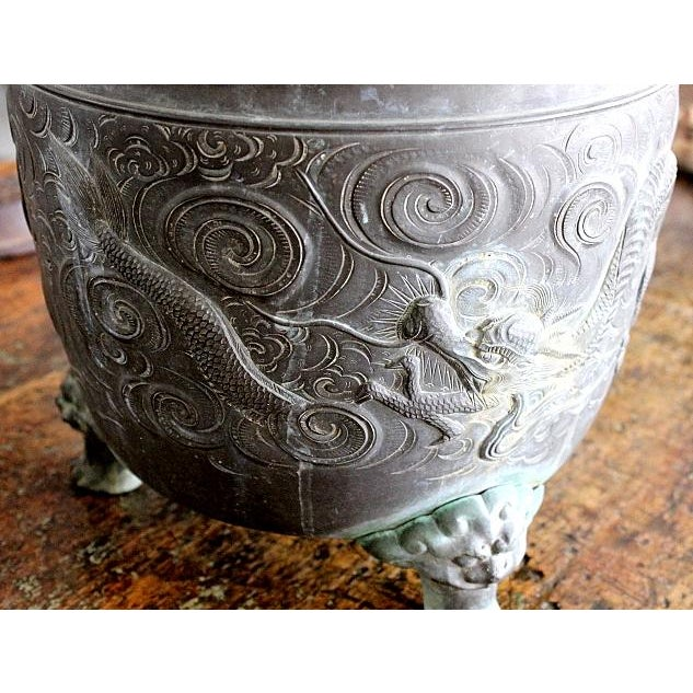 Heavy Bronze Asian Pot with Claw Feet - Image 4 of 4