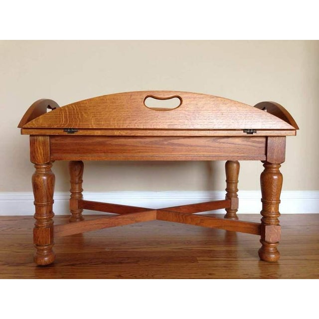 Vintage Butler Coffee Table: Antique Carved Walnut Butler's Tray Table